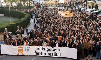 Manifestació pel tren a Dénia